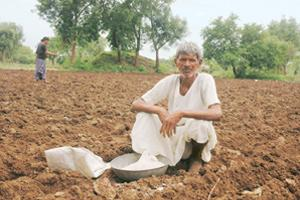 Disillusioned: Darichetti Linganna, 70, owns 3 acres of land on the outskirts of Chityal village in North Telanga. He is among many farmers who say they might not be paying their loan instalments this