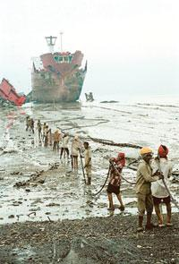 A file photo of workers at Alang. Environmental groups have been campaigning against practices adopted at the yard (Photo by: Shailendra Yashwant/Greenpeace)
