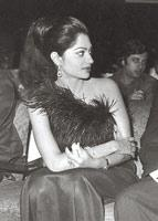 Garewal in an ostrich feather-detail dress in the 1970s. (Photograph courtesy Simi Garewal)