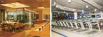 Size matters: (left) Occupying two levels, San Qi at Four Seasons serves three cuisines; the Fitness First gym covers 18,000 sq. ft.