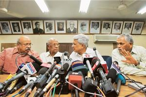 Splitsville: (L to R) A file photo of Revolutionary Socialist Party leader T.J. Chandrachoodan, CPI leader A.B. Bardhan, CPM leader Prakash Karat and Forward Bloc Leader Debabrata Biswas at a press co