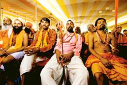 Matter of faith? A file photo of a meeting called on the issue of  Sethusamudram in New Delhi last year. When the dredging began in July 2006, Hindu groups across the country began protesting, deraili