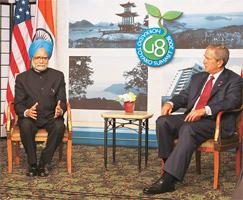 Deal deliberations: Prime Minister Manmohan Singh with US President George W. Bush on Wednesday.