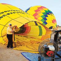 Travellers take off for a hot-air balloon ride on the outskirts of Albuquerque
