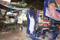Next PM? Posters of Mayawati for sale in a market in Lucknow, Uttar Pradesh. Mayawati is positioning herself as a vital ally to whichever party may need her to form a government in the country. (Photo