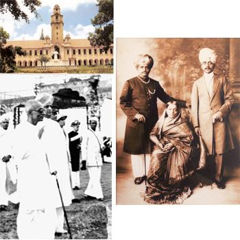 Royal tag: (clockwise from top left) The Indian Institute of Science; Queen Vani Vilasa with her two sons; C. Rajagopalachari with the last ruler, Jayachamaraja Wodeyar.