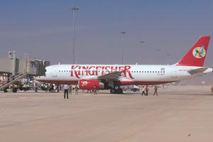 Flying overseas: A March photo of a Kingfisher aircraft as the airline tested its international arrival process at the new Bangalore airport.