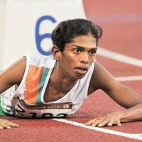 Lost glory: A file picture of Santhi Soundarajan at the 15th Asian Games in Doha. (Photograph by Marwan Naamani/AFP)