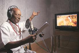 In sync: Dubbing artiste K.N. Kaalai, at work in a studio of Seventh Channel Communications in Chennai. (Photo: Sharp Image)