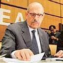 Proliferation concerns:Mohamed El Baradei, director general of IAEA, at the UN agency's 35-nation board meeting in Vienna, on Frida. (Photograph by Hans Punz / AP)