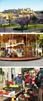 Freeze frame: (from top to bottom) A view of la Cité from the Old Bridge, over the Aude river; an old-fashioned carousel outside la Cite; the Saturday market at Place Carnot in Carcassonne. Photograph