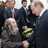 Russian President Vladimir Putin, visits Alexander Solzhenitsyn, in his house in Troitse-Lykovo in the outskirts of Moscow. In the background are, his sons, Stepan and Yermolai