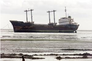 Recycling cargo: A file photo of a scrapped ship awaiting dismantling at a ship-breaking yard in Chittagong. Photograph: Rafiqur Rahman / Reuters