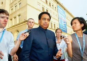 Dead end: Commerce minister Kamal Nath (centre) talks to reporters after the Doha Round of trade talks collapsed in Geneva last week. (AP)