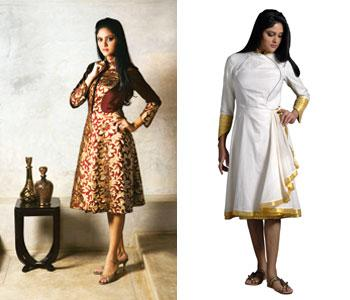 One side of the reversible dress showcases the handloom Kerala cloth woven by Hindus in south India, while the other shows rich Banarasi silk woven by Muslims in the north. Photographs: Abhijit Bhatle