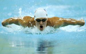 US swimmer Michael Phelps competes during the men's 400m individual medley swimming heat at the 2008 Beijing Olympic Games on 9 August 2008 in Beijing. (AFP Photo)