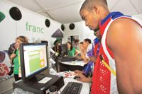 Keeping tabs: Cuban athlete Yunior Diaz at the Wada centre at the Olympic village on Sunday. Athletes were at the centre to learn from a campaign aiming to eradicate cheating that has tainted elite sp