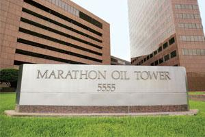 Asset sale: Marathon Oil's headquarters in Houston, Texas. The 20% stake sale in Angolan oil field could fetch the firm around $2 billion. Photograph: F. Carter Smith / Bloomberg