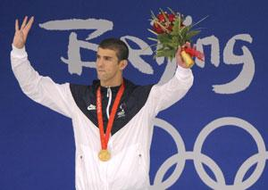 Michael Phelps waves during the award ceremony at National Aquatics Centre in Beijing on 13 August 13 2008. (AP Photo)