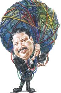 The cable guy: Srinath saved the day for VSNL with a simple solution. (Illustration: Jayachandran/Mint)