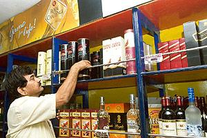 Aiming high: A liquor shop in New Delhi. More than half a million cases of scotch are sold every year in India, the demand fuelled by rising disposable incomes in an economy that's growing at nearly 8