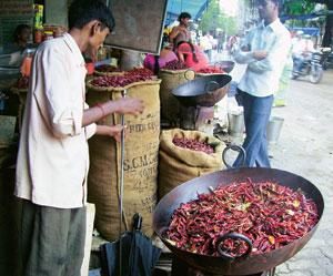 Red hot: Lalbaug's Mirchi Galli is busiest before the monsoon.