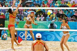 Sex and sports: Does beach volleyball do it for you? Photograph: Nir Elias / Reuters