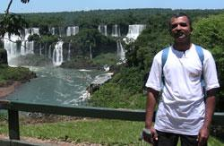 Water world:Shejwalkar at the Iguazu waterfalls, which are taller than the Niagara falls. Photograph: Kaustubh Shejwalkar