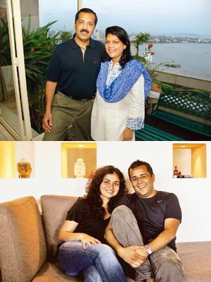 Striking a partnership: Sanjay and Falguni Nayar (top) were part of the same study group at the Indian Institute of Management, Ahmedabad; and Chetan and Anusha Bhagat (above) graduated from IIM-A in