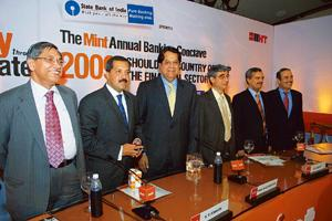 Financial leaders: Panellists at the Mint Annual Banking Conclave 2008 in Mumbai: from left—K.C. Chakrabarty, CMD of Punjab National Bank; Sanjay Nayar, CEO of Citigroup India; K.V. Kamath of ICICI Ba