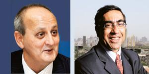 Uncertain times: Andrew Holland, a managing director of DSP Merrill Lynch Ltd, is moving to Ambit Capital Pvt. Ltd (Photo: Reuters). (Right) Tarun Jotwani remains chairman & CEO of Lehman Brot