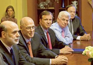 Fire fighting: (from left) Fed chairman Ben Bernanke, US treasury secretary Henry Paulson and Securities and Exchange Commission chairman Christopher Cox at the meeting with congressional leaders on C