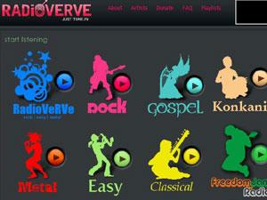 RadioVerve (radioverve.com) plays independent music from Indian bands