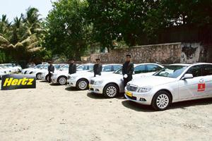Special services: A fleet of Mercedes-Benz cars rented by Emirates Airlines outside Chhatrapati Shivaji International Airport, Mumbai. Hotels, too, are using luxury cars to pamper premium customers.