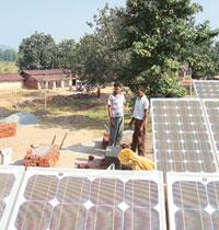 Showing the way: Solar panels at a Chhattisgarh village. The ISA study has identified rural electrification for remote villages as one of the high-potential market for solar photovoltaic cells. Maitre