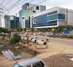 Health hazard: Unfinished public works projects dot Gurgaon, home to large numbers corporate professionals. Rajeev Dabral / Mint