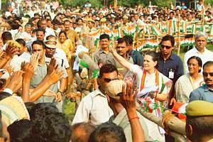 Safe bet: Congress president Sonia Gandhi at a rally in Dadri, Uttar Pradesh. Leaders say the Congress can safely highlight farmers' issues as it is not in power in many of the states heading for elec