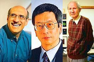 Flying colours: (from left) Martin Chalfie, Roger Tsien and Osamu Shimomura, the winners of the 2008 Nobel Prize for chemistry. Josh Reynolds / AP
