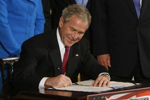 Done deal: President Bush signs the US-India Nuclear Cooperation Approval and Nonproliferation Enhancement Act during a ceremony in the East Room of the White House in Washington. Pablo Martinez Monsi