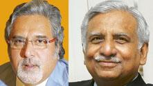 Joining hands? Kingfisher's Vijay Mallya (left) and Jet's Naresh Goyal.