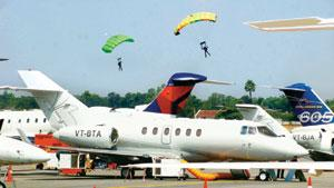Crisis time: Aircraft at the inauguration of the air show at Begumpet airport in Hyderabad on Wednesday. PTI