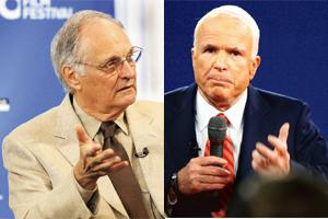 Stranger than fiction: Will John McCain (right) lose the elections like Alan Alda's character Arnie Vinick in the series The West Wing?