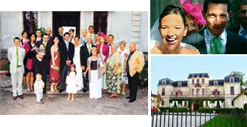 Marriage in heaven: (clockwise from top right) Chateau Turpaut, the dinner party venue; friends and family with the couple; and a joyous Diane and Nicolas. Photographs: Frederic Prugneau, Marcel Grose