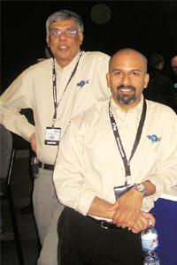 Applied science: Qtech Inc. founders Machiraju (left) and Sunil Vemuri at the reQall booth at the tech conference Macworld 2008.