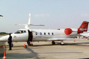 New opportunities: A Learjet business jet at Hyderabad Air Show. Though the number of people needed to run a business jet is lean, the number needed to run the new planes coming into India could be si