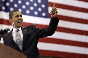 Democratic presidential candidate senator Barack Obama speaks at a rally in Fayetteville, North Carolina.