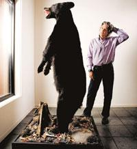 Just cautious: William Fleckenstein, president of Fleckenstein Capital, poses next to a stuffed grizzly bear at the firm's offices in Seattle, US. Brian Smale / Bloomberg