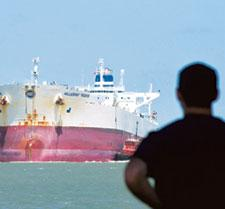 Changing course: An oil tanker. Under International Maritime Organization norms, all liquid carriers have to be double-hulled by 2010 to prevent spillage of commodities such as oil in case of accident