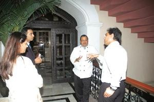 On duty: Chef Hemant Oberoi (second from right) at work.