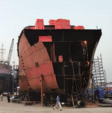 Lean stretch: A file photo of a ship under construction at the ABG Shipyard facility in Surat, Gujarat. The Indian shipping industry started eyeing a bigger share of the global market after a slew of